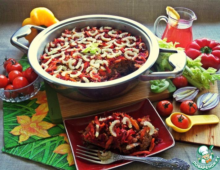 Рецепт: Куриная печень под овощами и гречкой