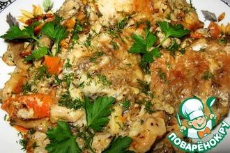 Рецепт: Рыба с грибами в сметанном соусе