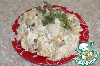 Рецепт: Пельмени в горшочке с грибами и сметаной