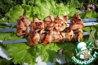 Рецепт: Куриный шашлык в яблочно-соевом маринаде