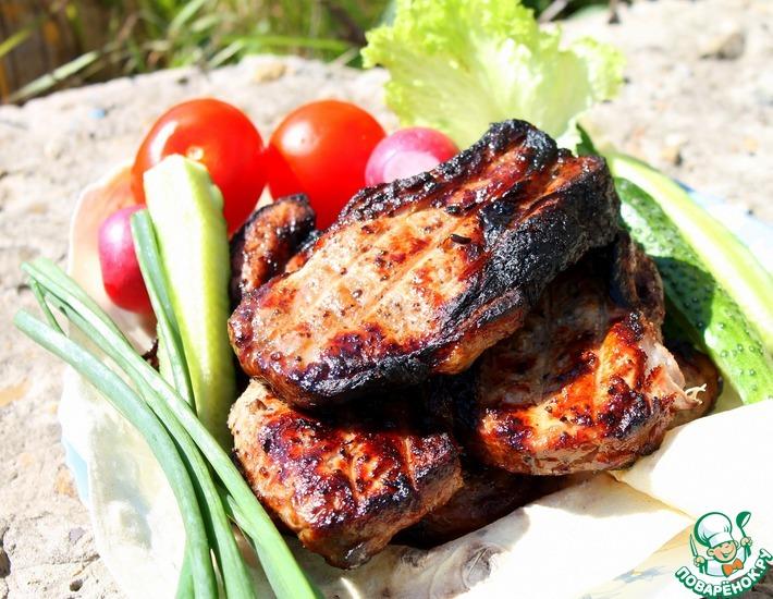 Рецепт: Шашлык из свиной корейки