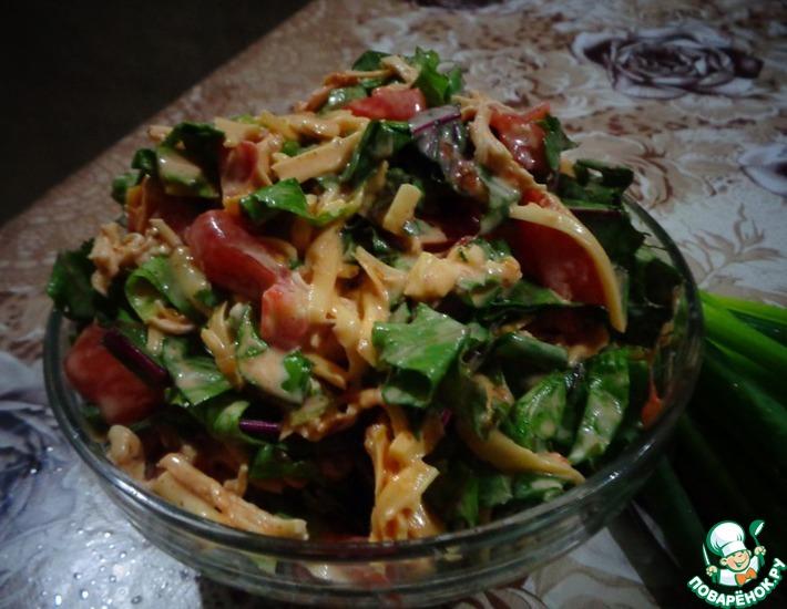 Рецепт: Салат Интересный со свекольными листьями