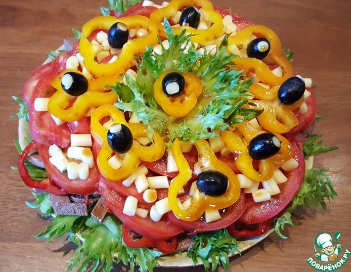 Рецепт: Салат Сердечный со сладким соевым соусом