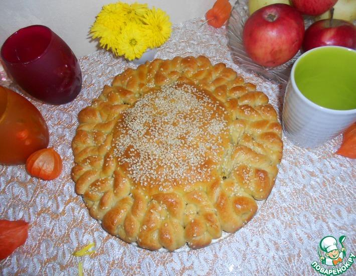 Рецепт: Пирог Солнышко с рисом и мясом