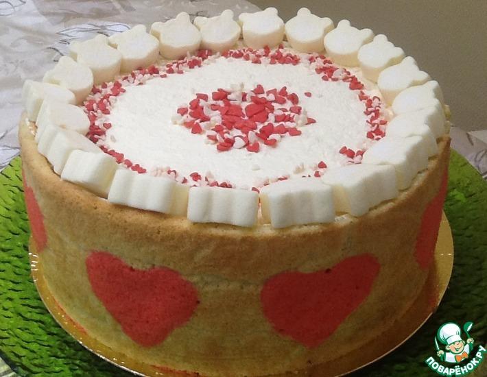 Рецепт: Торт-суфле Клубничное сердце
