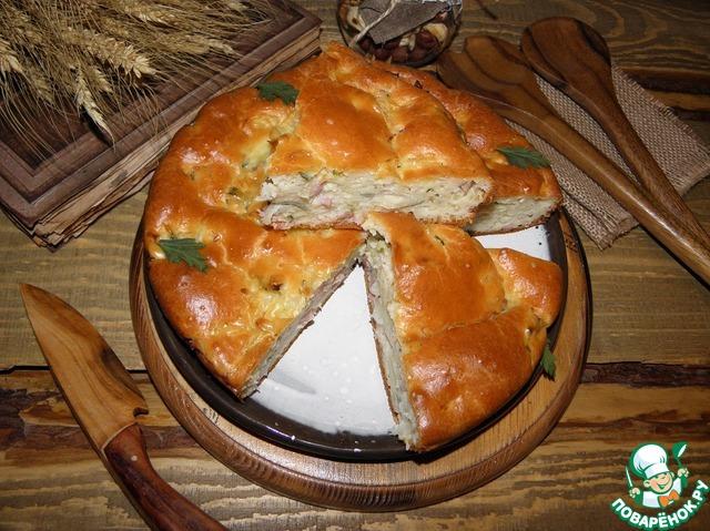 Рецепт Заливной пирог с капустой и копченой курицей