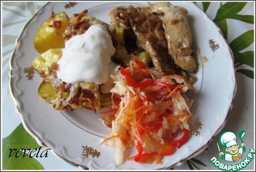 Рецепт Запеченный картофель с сыром, беконом и чесноком