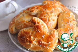 Рецепт: Пирожки Рукавички с курицей и рисом
