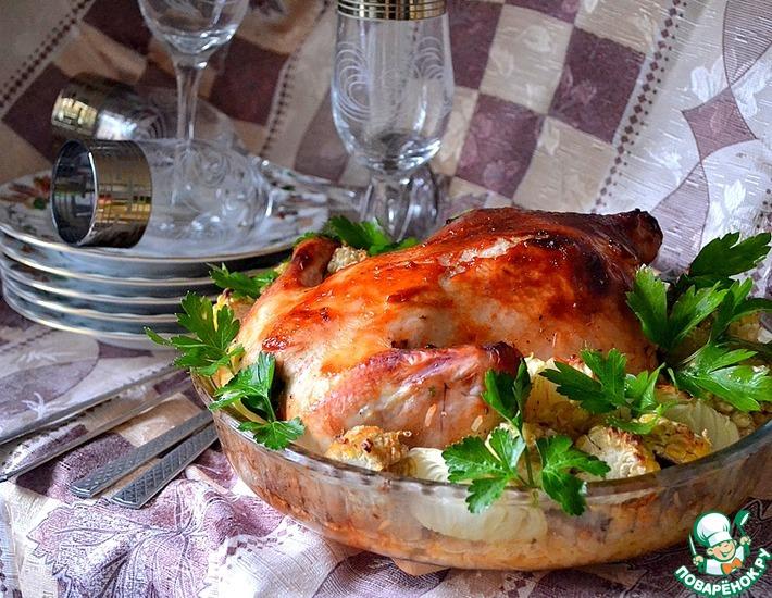 Рецепт: Курица, фаршированная рисом и апельсином