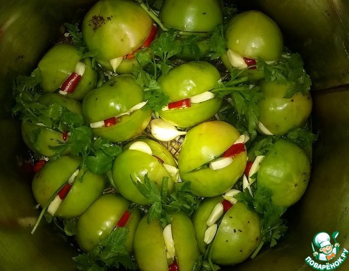 Рецепт: Бочковые зелёные помидоры