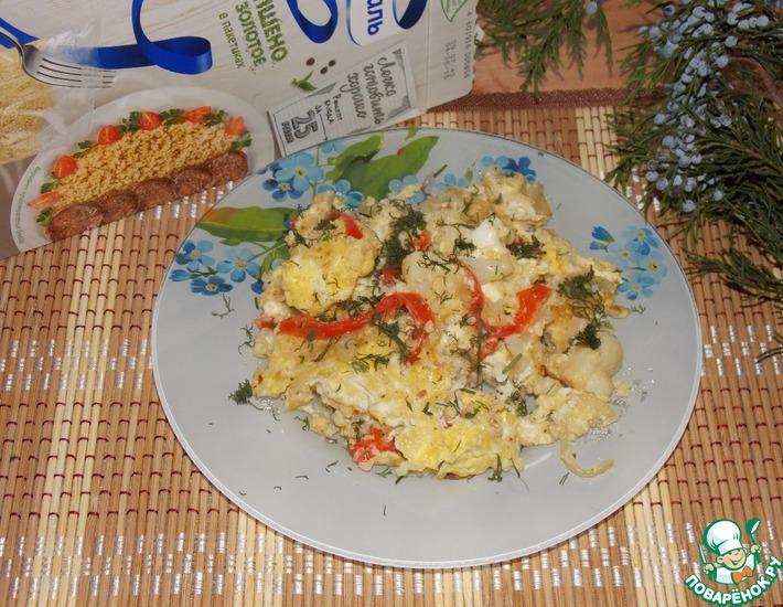 Рецепт: Яичница с овощами и пшеном