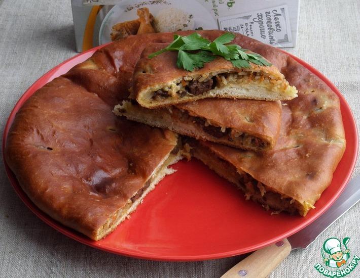 Рецепт: Пирог с рисом и куриной печенью