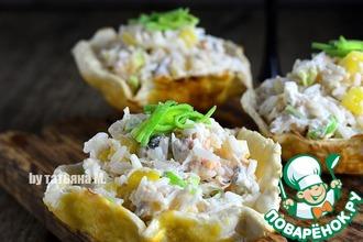 Рецепт: Рыбный салат в съедобных тарелочках