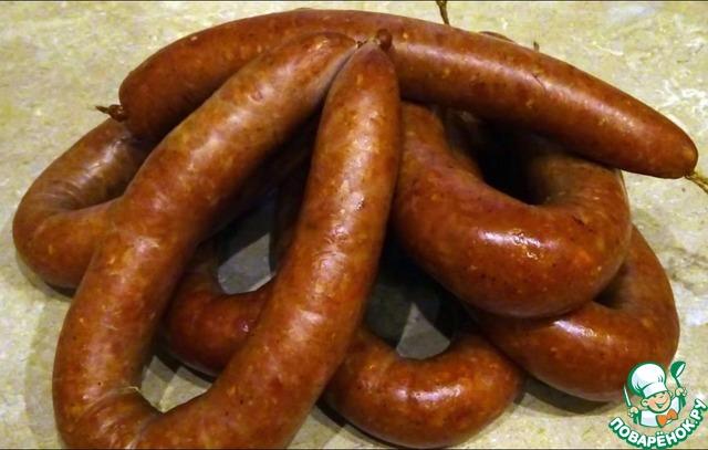 Рецепт Полукопченая курино-свиная колбаса