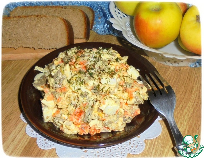 Рецепт: Салат из риса и печени