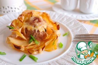 Рецепт: Картофельные розы с мясными шариками
