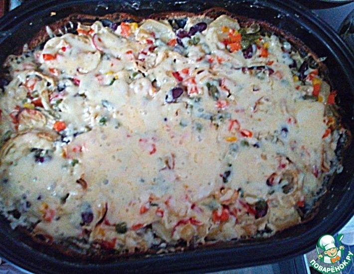 Рецепт: Овощи в сметанно-сырном соусе