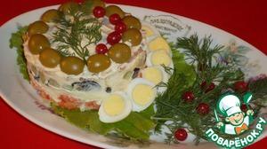Украшаем перепелиными яйцами, зеленью и клюквой. Отправляем на 30-40 минут в холодильник.   Подаем на стол.   Приятного Аппетита!