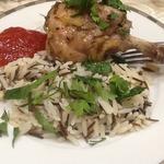 Кролик в духовке с гарниром из риса