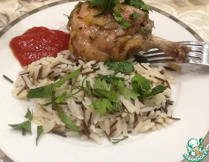 Рецепт: Кролик в духовке с гарниром из риса