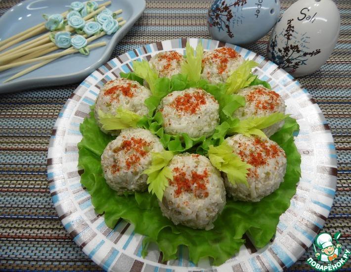 Рецепт: Закуска Рисовые шарики с ветчиной