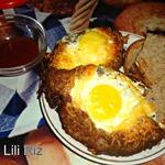 Мясные лодочки с яйцом