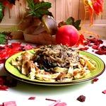 Рис с сушеными грибами и омлетом