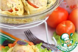 Рецепт: Тефтели, запеченные в макаронных гнездах