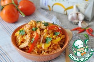 Рецепт: Тёплый рисовый салат в мексиканском стиле