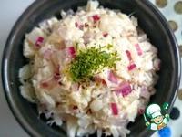 Салат из трески, риса и красного лука ингредиенты