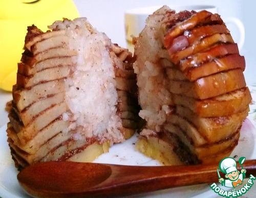 Рецепт Яблочный колодец с начинкой из риса