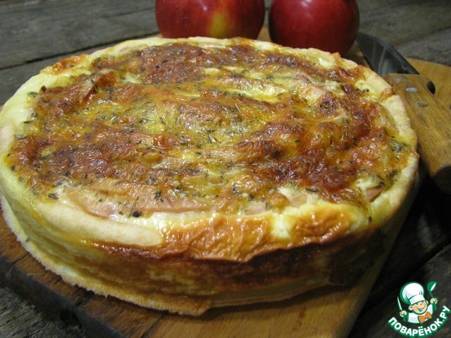 Рецепт Яблочный киш с сырной заливкой