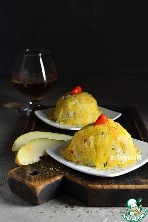 Рецепт Салат с мидиями под сырной паутинкой