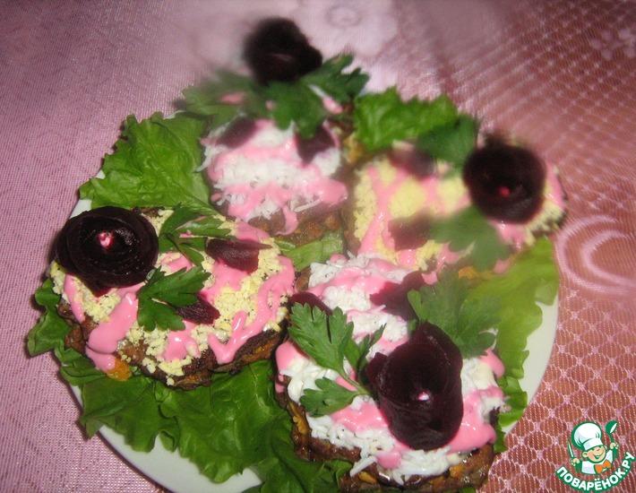 Рецепт: Печеночные пирожные Розовые розы
