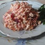 Сырный салат с белорыбицей