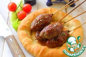 Рецепт: Кебаб на лепёшке с рисом