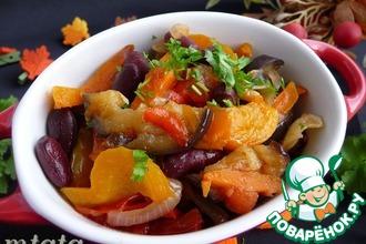 Рецепт: Овощное рагу из баклажанов с фасолью