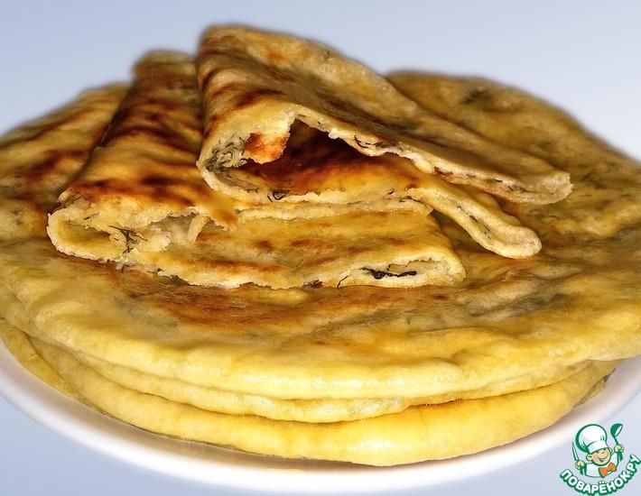 Рецепт: Хычины с сыром и зеленью