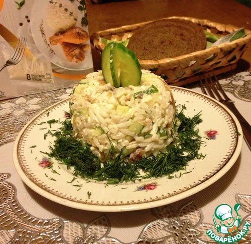 Рецепт Рисовый салат с копчёной рыбой