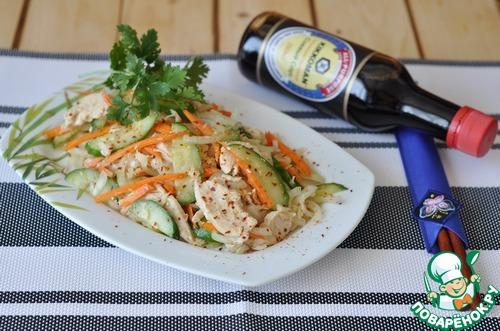 Рецепт Корейский салат из курицы и огурцов