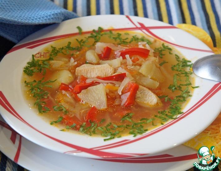 Рецепт: Овощной суп с кислыми яблоками