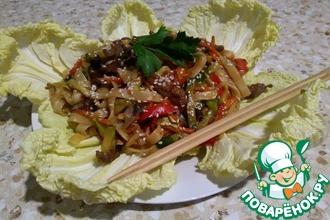 Рецепт: Удон с говядиной и овощами