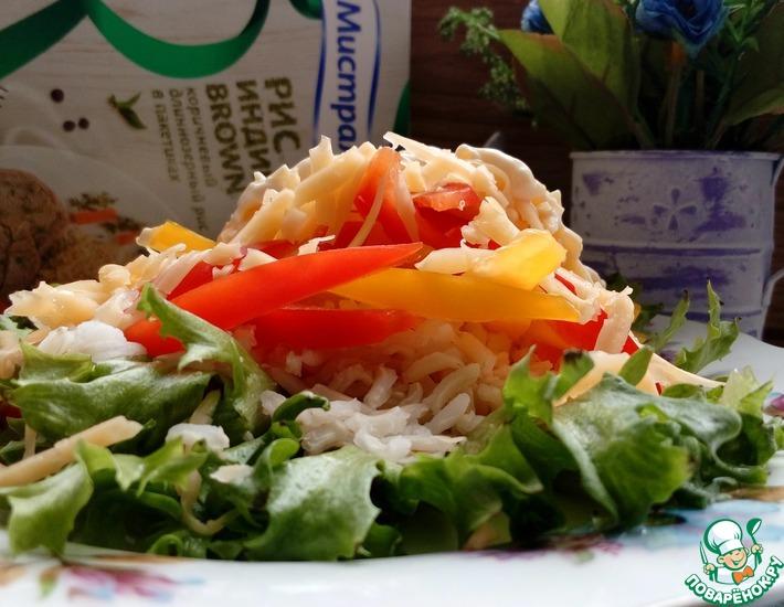 Рецепт: Сырный салат с коричневым рисом
