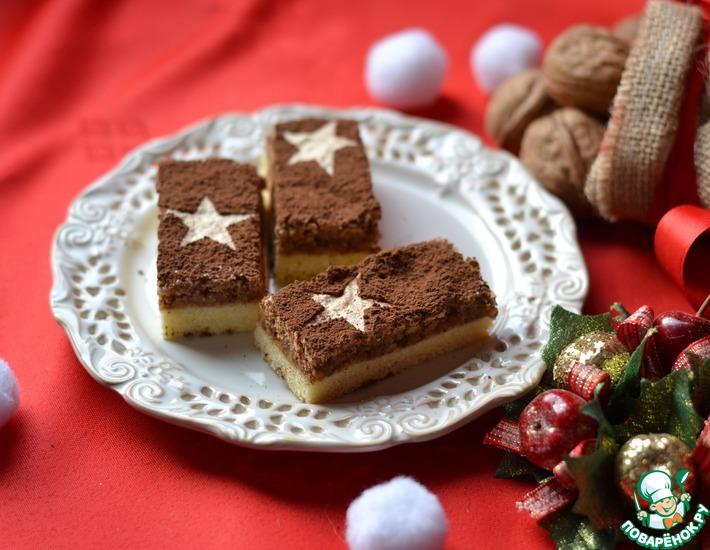 Рецепт: Новогоднее пирожное с ореховым снегом