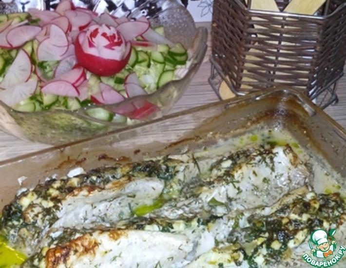 Рецепт: Рыба фаршированная шпинатом в сметане