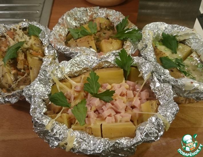 Рецепт: Картофель с начинкой в фольге