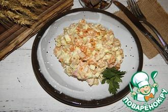 Рецепт: Салат с копченой курицей Нежный