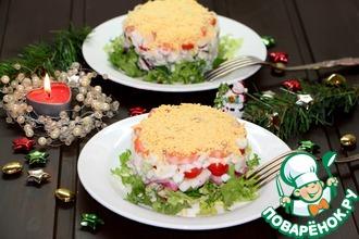 Рецепт: Салат с кальмаром и овощами Новогодний