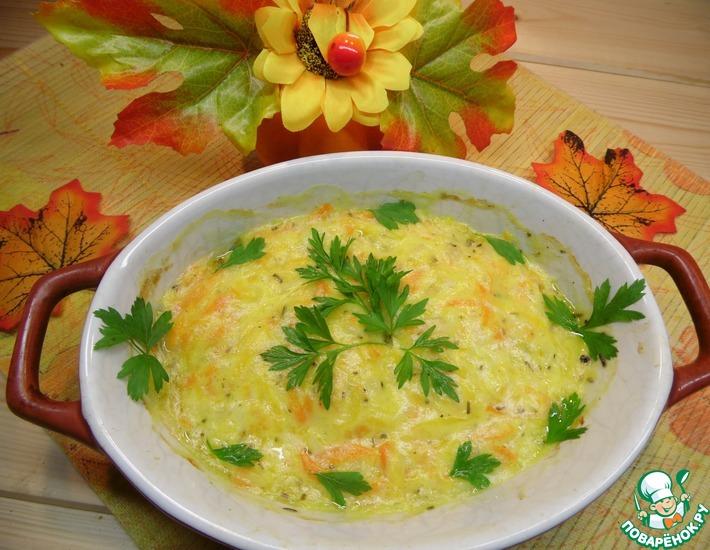 Рецепт: Треска под сырно-овощным одеялом