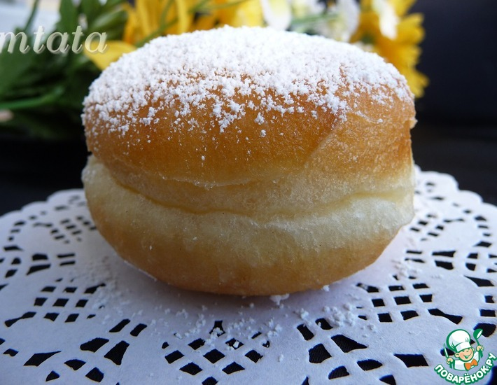 Рецепт: Пончики с джемом Берлинеры